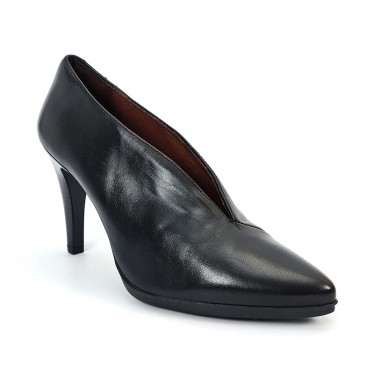 Woman Leather Comfort Booty Like Pumps High Heeled 92053 Black, by Desireé