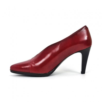 Woman Leather Comfort Booty Like Pumps High Heeled 92053 Burgundy, by Desireé