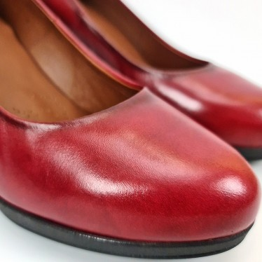 Woman Leather Comfort Pumps High Heeled 92190 Burgundy, by Desireé