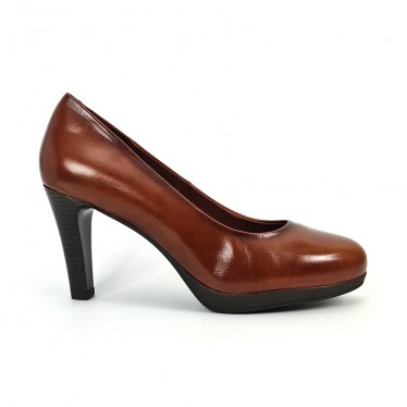 Woman Leather Comfort Pumps High Heeled 92190 Brown, by Desireé