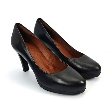 Woman Leather Comfort Pumps High Heeled 92190 Black, by Desireé