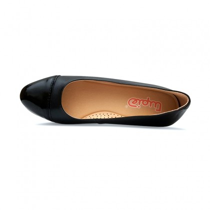 Woman Leather Wedged Ballerines Removable Insole 70 Black, by TuPié