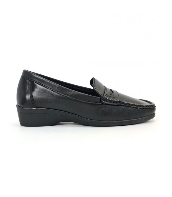 Woman Soft Leather Wedged Comfort Loafers 3100 Black, by Amelie Comfort
