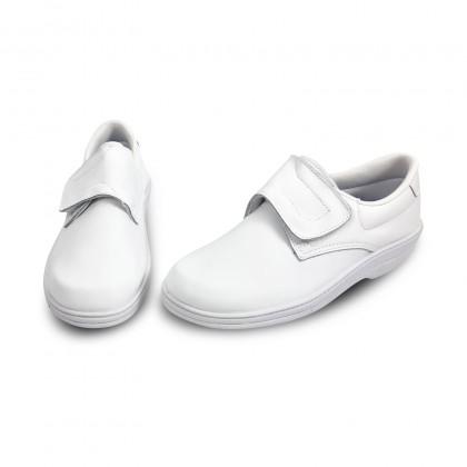 Zuecos Sanitarios Mujer Piel Cierre Velcro Anatómicos 790 Blanco, de Percla