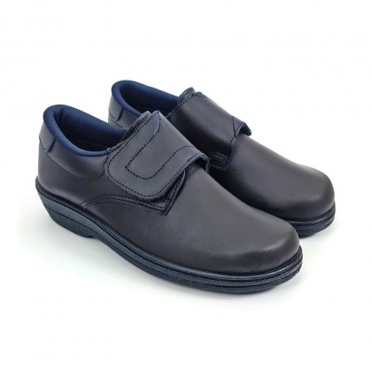 Woman Leather Hospital Shoes Anatomical Velcro Closure 790 Navy, by Percla