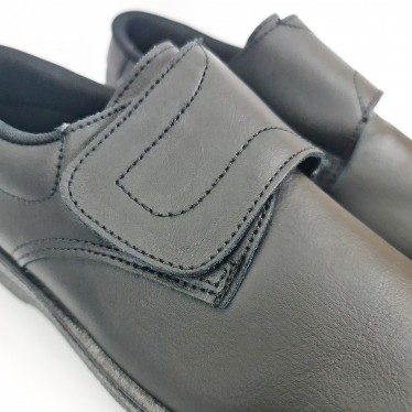 Zuecos Sanitarios Mujer Piel Cierre Velcro Anatómicos 790 Negro, de Percla