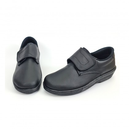 Woman Leather Hospital Shoes Anatomical Velcro Closure 790 Black, by Percla