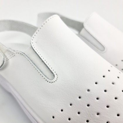 Zuecos Sanitarios Mujer Piel Perforada Destalonados Velcro 794 Blanco, de Percla