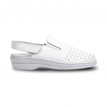 Woman Perfo Leather Hospital Shoes Slingback Velcro Closure 794 White, by Percla