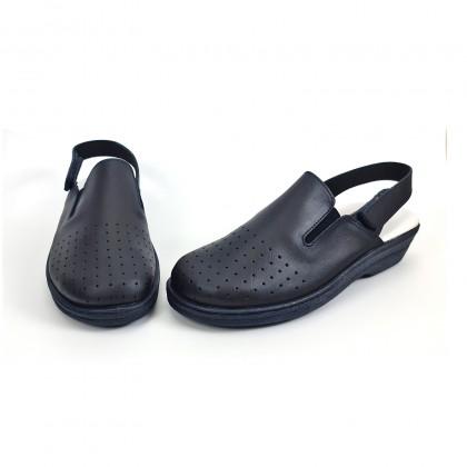 Zuecos Sanitarios Mujer Piel Perforada Destalonados Velcro 794 Marino, de Percla
