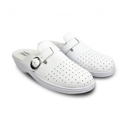 Woman Perfo Leather Hospital Shoes Slingback Buckle 795 White, by Percla