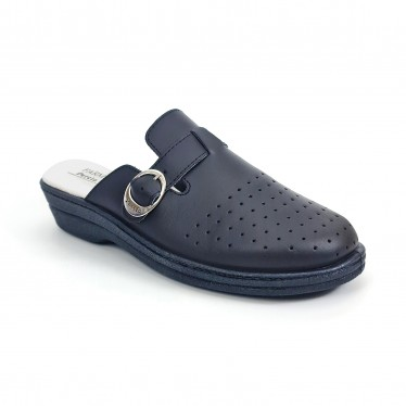 Woman Perfo Leather Hospital Shoes Backless Buckle 795 Navy, by Percla