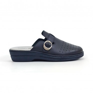 Woman Perfo Leather Hospital Shoes Slingback Buckle 795 Navy, by Percla