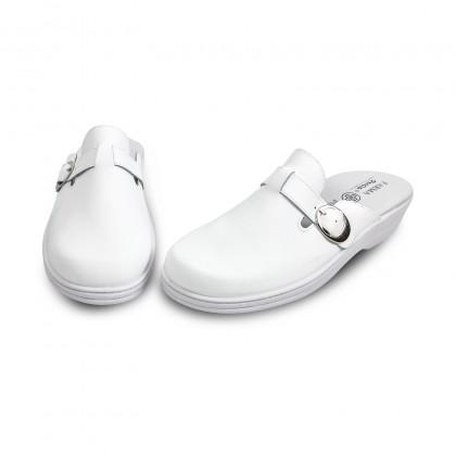 Zuecos Sanitarios Mujer Piel Destalonados Hebilla 796 Blanco, de Percla