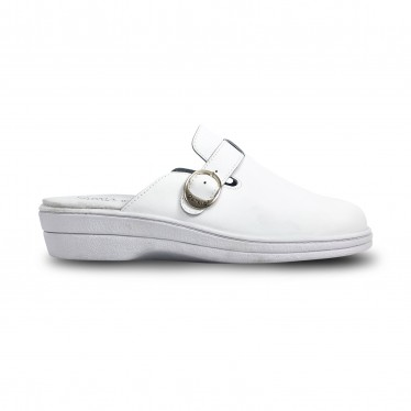 Woman Leather Hospital Shoes Slingback Buckle 796 White, by Percla