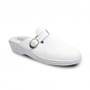 Woman Leather Hospital Shoes Backless Buckle 796 White, by Percla