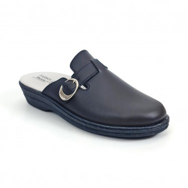 Woman Leather Hospital Shoes Backless Buckle 796 Navy, by Percla