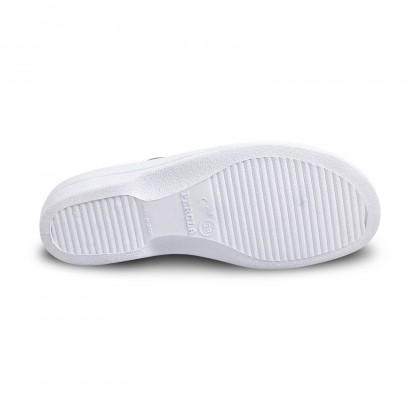 Zuecos Sanitarios Mujer Piel Destalonados Punta Abierta Dos Hebillas 796 Blanco, de Percla