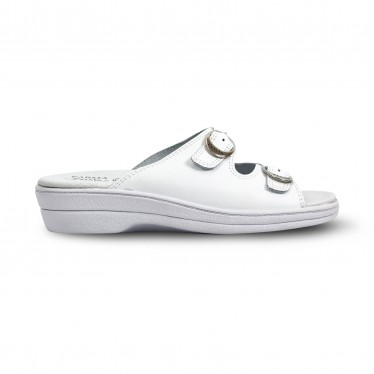 Woman Leather Hospital Shoes Slingback Open Toe Two Buckles 797 White, by Percla