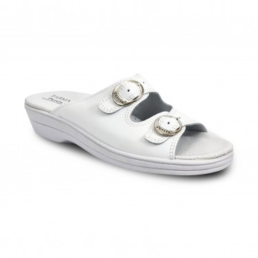 Woman Leather Hospital Shoes Backless Open Toe Two Buckles 797 White, by Percla
