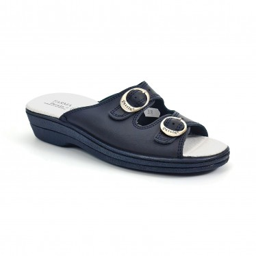 Woman Leather Hospital Shoes Backless Open Toe Two Buckles 797 Navy, by Percla