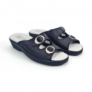 Woman Leather Hospital Shoes Slingback Open Toe Two Buckles 797 Navy, by Percla