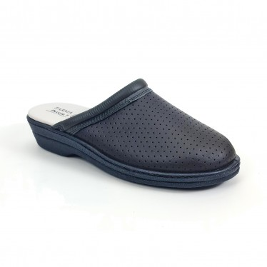 Woman Perfo Leather Hospital Shoes Backless 798 Navy, by Percla