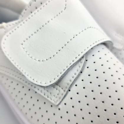 Woman Leather Hospital Shoes Anatomical Velcro Closure 790 White, by Percla