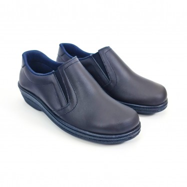 Woman Leather Hospital Shoes Anatomical No Laces 18791 Navy, by Percla