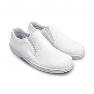 Woman Leather Hospital Shoes Anatomical No Laces 18791 White, by Percla