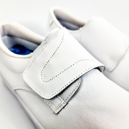 Man Leather Hospital Shoes Anatomical Velcro Closure 290 White, by Percla
