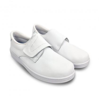 Zuecos Sanitarios Hombre Piel Cierre Velcro Anatómicos 290 Blanco, de Percla