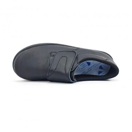 Zuecos Sanitarios Hombre Piel Cierre Velcro Anatómicos 290 Negro, de Percla