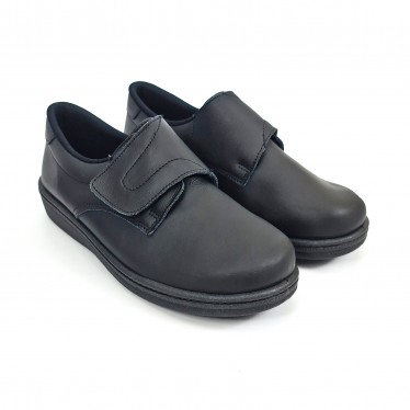 Man Leather Hospital Shoes Anatomical Velcro Closure 290 Black, by Percla