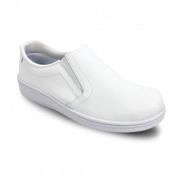 Man Leather Hospital Shoes Anatomical No Laces 291 White, by Percla