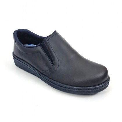 Man Leather Hospital Shoes Anatomical No Laces 291 Navy, by Percla