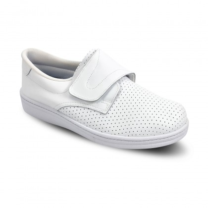 Man Perfo Leather Hospital Shoes Anatomical Velcro Closure 293 White, by Percla