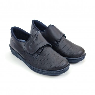 Man Perfo Leather Hospital Shoes Anatomical Velcro Closure 293 Navy, by Percla