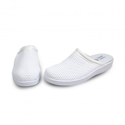 Man Perfo Leather Hospital Shoes Backless 298 White, by Percla