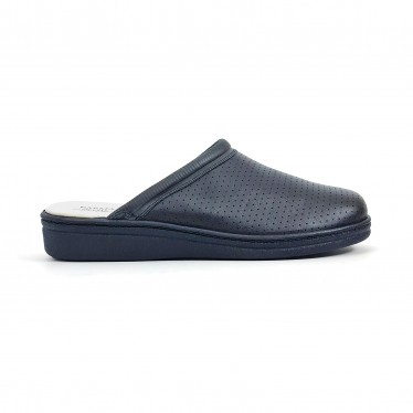 Man Perfo Leather Hospital Shoes Backless 298 Navy, by Percla