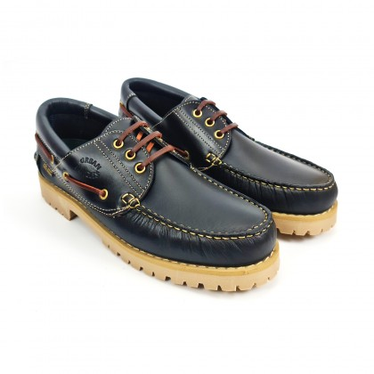 Man Pull Leather Boat Shoes Thick Sole Timberland Like 3000 Navy, by Urban Jungles