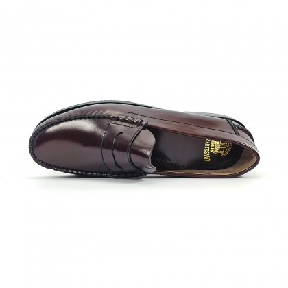 Man Florentic Leather Penny Loafers Non-slip Leather and Rubber Sole 7000 Burgundy, by Urban Jungles