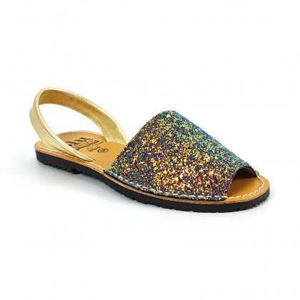 Woman Holographic Glitter Leather Menorcan Sandals 275 Rainbow, by C. Ortuño
