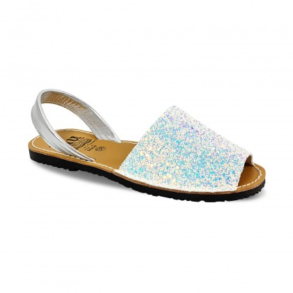 Woman Holographic Glitter Leather Menorcan Sandals 275 Snow, by C. Ortuño