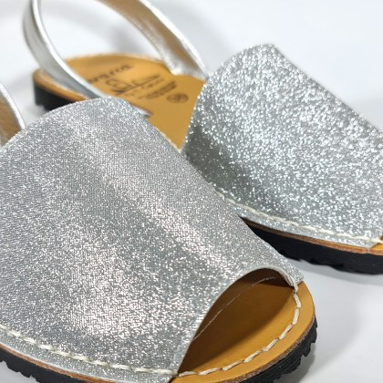 Woman Leather and Fabric Menorcan Sandals Stars Effect Glitter 280 Silver, by C. Ortuño