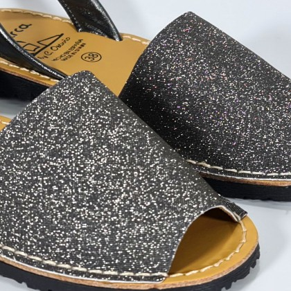 Woman Leather and Fabric Menorcan Sandals Stars Effect Glitter 280 Lead, by C. Ortuño