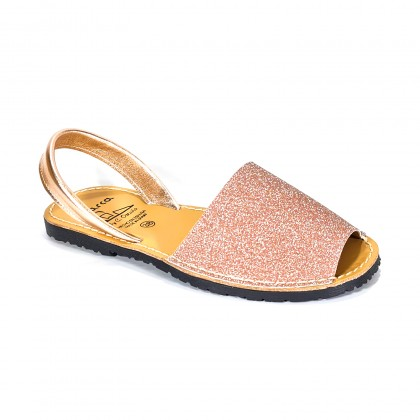 Woman Leather and Fabric Menorcan Sandals Stars Effect Glitter 280 Salmon, by C. Ortuño