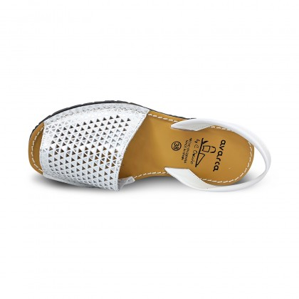 Woman Openwork Leather Menorcan Sandals 336 White, by C. Ortuño