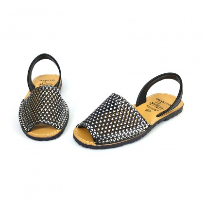 Woman Openwork Leather Menorcan Sandals 336 Black, by C. Ortuño