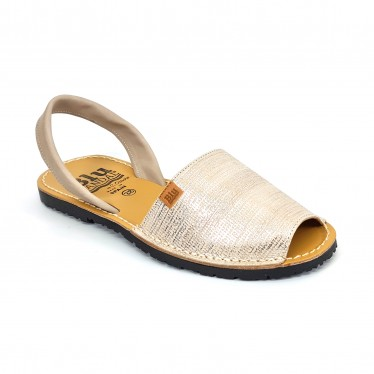 Woman Metallic Engraved Leather Menorcan Sandals 453 Beige, by C. Ortuño